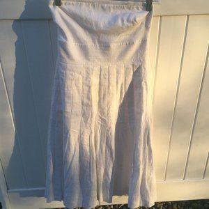 White Strapless Linen Dress